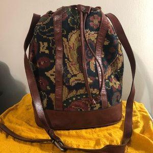 Vtg Tapestry & Leather Bucket Bag Smithsonian